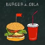 Hamburguer, Hamburger ou cheeseburger e soda ou cola grande do refresco Ícone para viagem do fast food Sinal do alimento afastado ilustração do vetor