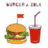 Hamburguer, Hamburger ou cheeseburger e soda ou cola grande do refresco Ícone para viagem do fast food Sinal do alimento afastado ilustração royalty free