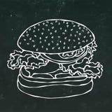 Hamburguer, Hamburger ou cheeseburger grande Isolado em um fundo preto do quadro Mão realística do estilo dos desenhos animados d ilustração royalty free