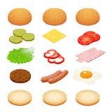 Hamburguer isométrico Ingredientes do hamburguer nos fundos brancos Ingredientes para hamburgueres e sanduíches Ovo frito, cebola ilustração stock