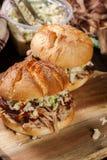 Hamburguer puxado caseiro da carne de porco com salada da salada de repolho fotos de stock royalty free