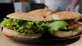 Hamburguer puxado caseiro da carne de porco com salada de repolho e molho do BBQ Colorido, escuro imagem de stock
