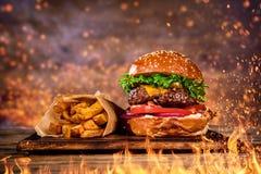 Hamburguer saboroso com batatas fritas e fogo imagem de stock royalty free