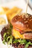 Hamburguer suculento da carne com fritadas Fotos de Stock Royalty Free
