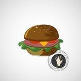 Hamburguer suculento e saboroso do esboço Engrena o ícone Fotos de Stock Royalty Free