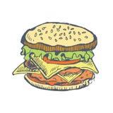 Hamburguer tirado mão hamburger ilustração royalty free