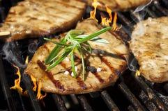 Hamburgueres, carne e salsichas em uma grade com chamas fotos de stock royalty free