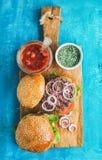 Hamburgueres caseiros com cebola, legumes frescos da carne, especiarias, molho de tomate fotos de stock