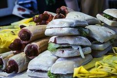 Hamburgueres e Hotdogs Fotos de Stock