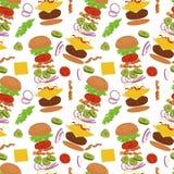 Hamburgueres e ingredientes para o fundo sem emenda do cheeseburger ilustração royalty free