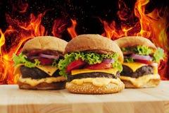 Hamburgueres feitos home grelhados saborosos e batatas fritas da carne Fotografia de Stock