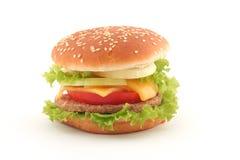 Hamburguesa aislada en blanco imagen de archivo