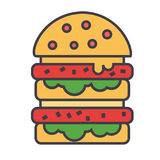 Hamburguesa, hamburguesa, alimentos de preparación rápida, bistro, concepto del bocadillo línea icono del vector Movimiento Edita ilustración del vector
