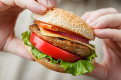 Hamburguesa apetitosa en las manos masculinas Fotos de archivo libres de regalías