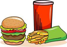Hamburguesa, bebidas de la soda y patatas fritas Imagenes de archivo
