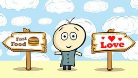Hamburguesa bien escogida o amor y cielo stock de ilustración