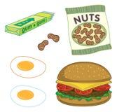 Hamburguesa, cacahuetes, goma, huevos Foto de archivo