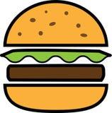 Hamburguesa coloreada de la fractura del icono con lechuga y tajada ilustración del vector