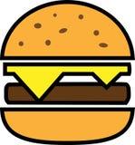 Hamburguesa coloreada de la fractura del icono con queso y tajada ilustración del vector