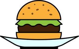 Hamburguesa coloreada de la vista delantera del icono con lechuga y la chuleta en una placa libre illustration