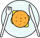 Hamburguesa coloreada del icono con la opinión de top de la ensalada y del queso y de la chuleta ilustración del vector