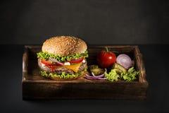 Hamburguesa con carne de vaca y queso Imagen de archivo libre de regalías