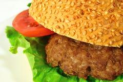 Hamburguesa con carne de vaca y verduras Fotos de archivo libres de regalías