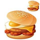 Hamburguesa con el huevo frito, queso cheddar, chuleta de la carne de vaca, rebanadas del chorizo ilustración del vector
