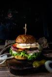 hamburguesa con la carne y el queso hechos en casa fotografía de archivo