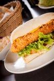 Hamburguesa con la pechuga de pollo desmenuzada de oro Fotografía de archivo libre de regalías