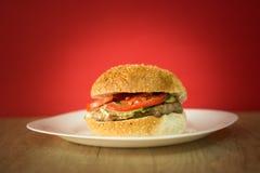 Hamburguesa con la salsa y la ensalada en el plato blanco y el fondo rojo Imagen de archivo