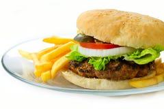 Hamburguesa con las fritadas Imagenes de archivo