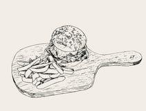 Hamburguesa con las fritadas Vector dibujado mano del bosquejo Fotografía de archivo libre de regalías