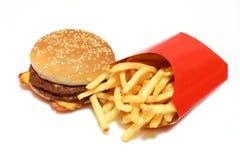 Hamburguesa con las patatas Imagen de archivo libre de regalías