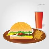 Hamburguesa con las patatas fritas y bebida en fondo gris claro Men? de los alimentos de preparaci?n r?pida Imágenes de archivo libres de regalías