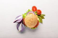 Hamburguesa con queso, carne, tomates y cebollas e hierbas Fotos de archivo libres de regalías