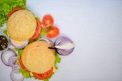 Hamburguesa con queso, carne, tomates y cebollas e hierbas En fondo de madera Fotos de archivo