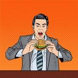 Hamburguesa de Art Business Man Eating Tasty del estallido en el trabajo libre illustration