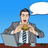 Hamburguesa de Art Business Man Eating Tasty del estallido en el trabajo ilustración del vector