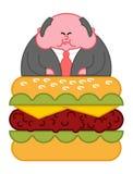 Hamburguesa de Boss Director gordo grueso Líder Hamburger Vector de la oficina stock de ilustración