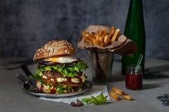 Hamburguesa de la carne de vaca de Foodporn, Junk Food fotografía de archivo