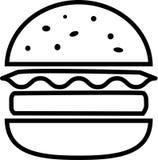 Hamburguesa de la fractura del icono con queso con lechuga y la chuleta libre illustration