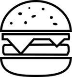 Hamburguesa de la fractura del icono con queso y tajada stock de ilustración