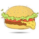 Hamburguesa de la historieta de los alimentos de preparación rápida Imágenes de archivo libres de regalías