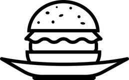 Hamburguesa de la vista delantera del icono con lechuga y la chuleta en una placa libre illustration