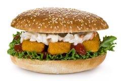 Hamburguesa de los filetes de pescados Imagen de archivo libre de regalías