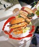 Hamburguesa del emparedado de la tostada Imagen de archivo libre de regalías