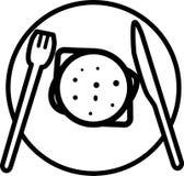 Hamburguesa del icono con la opinión de top de la ensalada y del queso y de la chuleta stock de ilustración