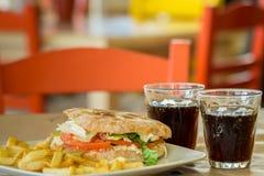 Hamburguesa del pan italiano Imágenes de archivo libres de regalías