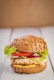 Hamburguesa del pollo con la salsa de curry Foto de archivo